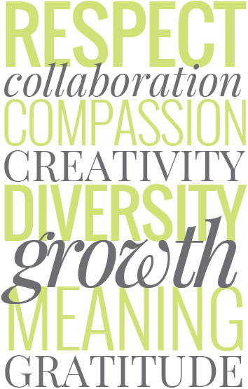 Respect. Collaboration. Compassion. Creativity. Diversity. Growth. Meaning. Gratitude.